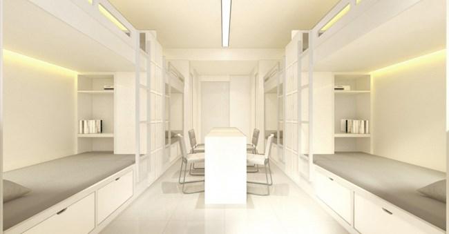 宿舍楼的一楼为完全开放式的空间可用来举办活动,不时的可在这些挑高